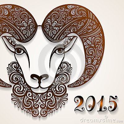 Free Vector Decorative Sheep With Patterned Horns Royalty Free Stock Photo - 47658385