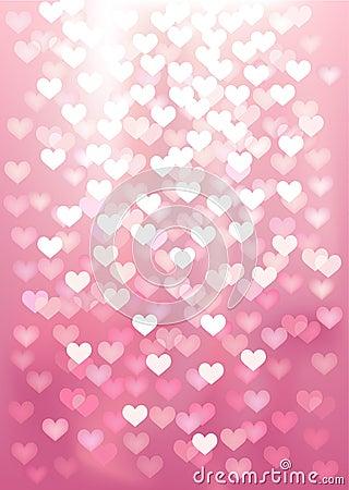 Vector Defocused lights in heart shape, pink color