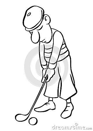 Vector del golfista de la historieta