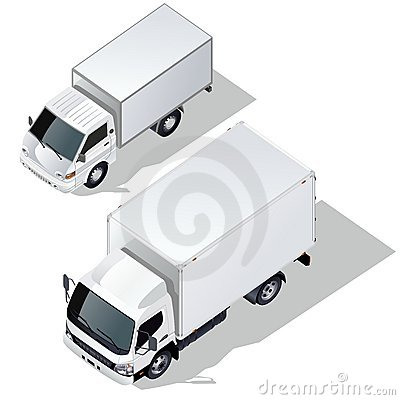 Vector delivery trucks set