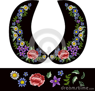 Vector design for collar blouses or dress. Vector Illustration