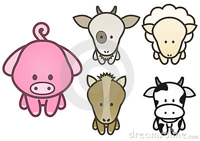 Vector design set of cartoon farm animals.