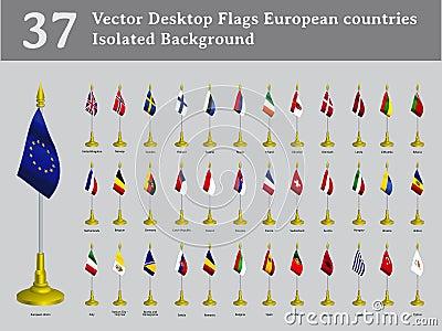 Vector desktop flags European countries isolated b