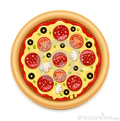 Free Vector Detailed Hot Pizza With Sticky Cheese And Salami Icon Stock Image - 74762411
