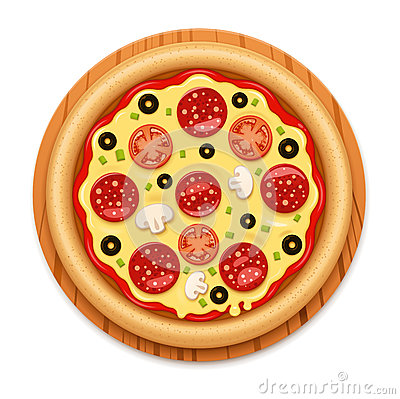 Free Vector Detailed Hot Pizza With Sticky Cheese And Salami Icon Royalty Free Stock Photography - 74762507