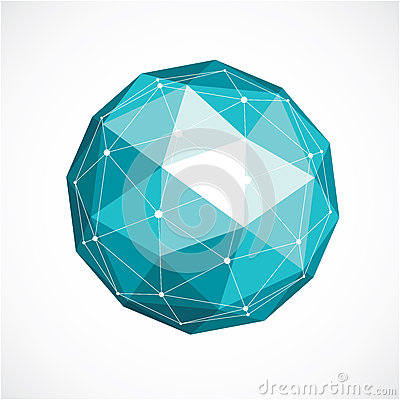 Vector dimensional wireframe low poly object, green spherical sh Vector Illustration
