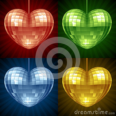 Vector Disco ball in the shape of heart
