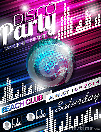Free Vector Disco Party Flyer Design With Disco Ball On Shiny Background Royalty Free Stock Images - 40707669