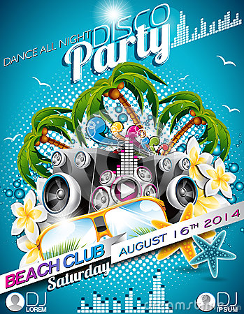 Free Vector Disco Party Flyer Design With Speakers And Sunglasses On Blue Background Royalty Free Stock Images - 40882589