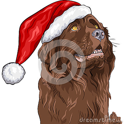 vector Dog German shepherd in Santa Claus hat