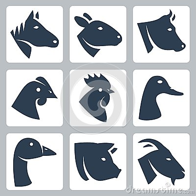 Free Vector Domesticated Animals Icons Set Royalty Free Stock Photos - 34988048