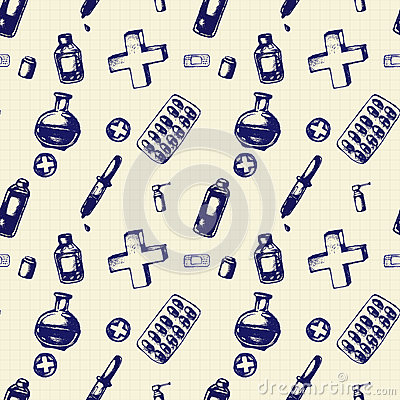 Vector doodle seamless illustration. Medicine icons Vector Illustration