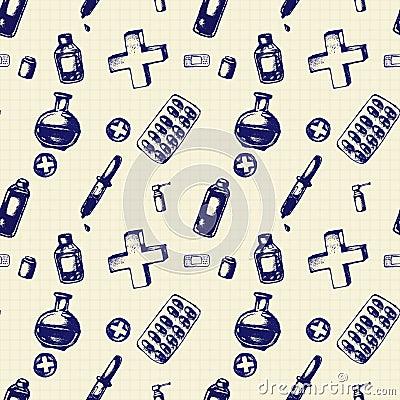 Vector doodle seamless illustration. Medicine icons Vector Illustration