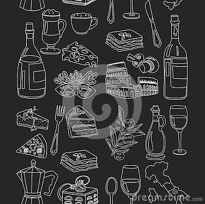 Vector doodle set for italian menu food travel cuisine for Avventura journeys in italian cuisine