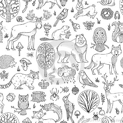 Free Vector Doodles Woodland Seamless Pattern. Royalty Free Stock Photos - 100587918
