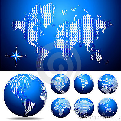 Free Vector Dotted Map And Globe Of The World Royalty Free Stock Photography - 5211077