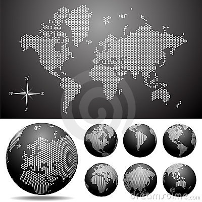 Free Vector Dotted Map And Globe Of The World Royalty Free Stock Photos - 9942678
