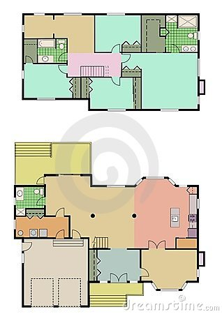 Vector Drawing Of 4 Bedroom House Stock Photography - Image: 15919222
