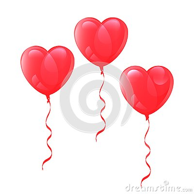 Vector drawing balloons heart shaped on white background Vector Illustration