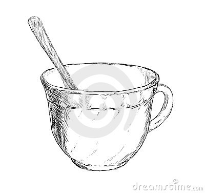 Vector drawing cup of coffee or tea with spoon