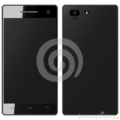 Free Vector Drawing Of A Realistic Black Smartphone On White Background Stock Images - 142221234