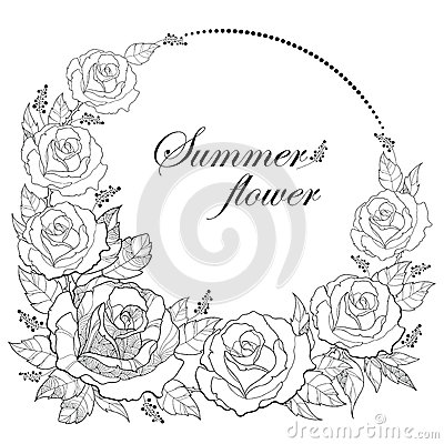 Free Vector Drawing Of Round Wreath With Outline Rose Flower And Foliage Isolated On White Background. Floral Elements With Open Roses. Stock Photos - 87375163