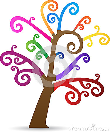 Colorful swirl tree