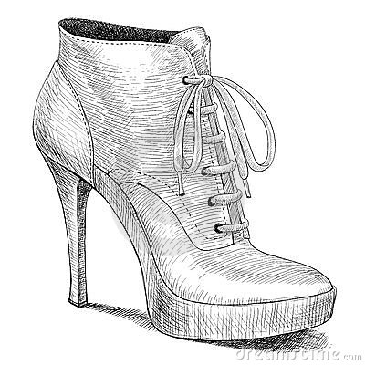 Vector drawing in vintage style of woman shoes