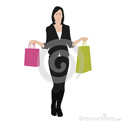 Free Vector Drawing Women With Shopping Bags Stock Image - 49191741