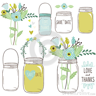 Free Vector Drawings Of Wedding Jars And Flowers Stock Photos - 60722603