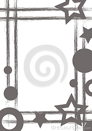Free Vector Drawn Geometric Background With Geometrical Figures, Frame, Border Grunge Template With Stars, Circles, Dots Old Style Vint Stock Images - 88835244