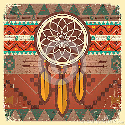 Free Vector Dream Catcher Poster With Ethnic Ornament Stock Image - 44030151