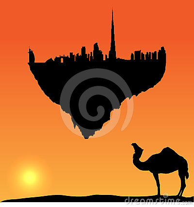 Vector Dubai silhouette flying island