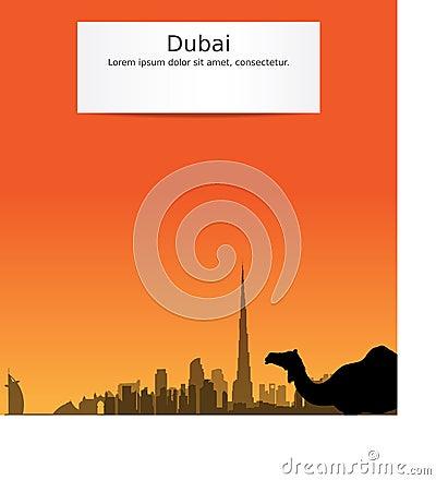 Vector Dubai silhouette skyline