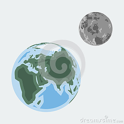 Vector earth and moon