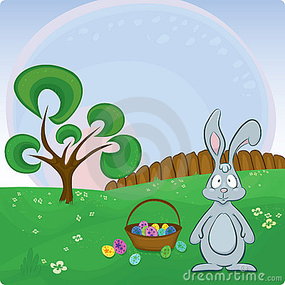 Vector Easter card with bunny