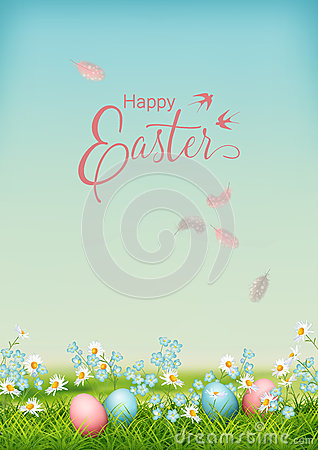 Vector Easter Landscape Vector Illustration