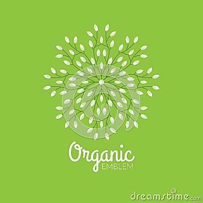 Vector Eco Organic Emblem Logo Design Template Eco Green