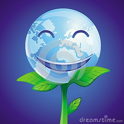 Vector ecology concept -  smiling planet
