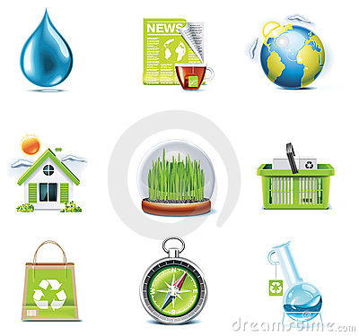 Free Vector Ecology Icon Set. Part 3 Stock Photography - 15404622