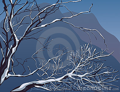 Vector editable winter landscape