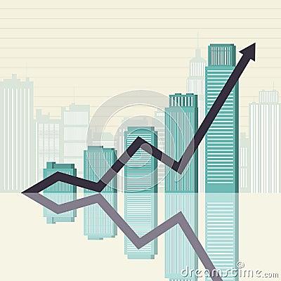 El éxito empresarial se eleva gráfico