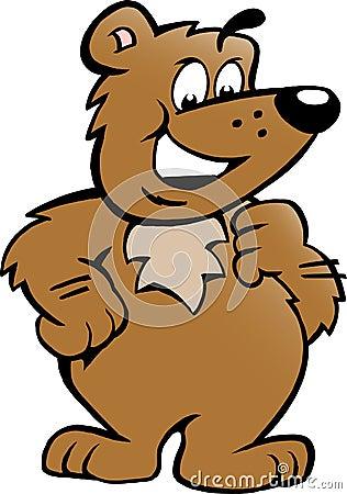 Vector el ejemplo de un oso de Brown orgulloso feliz
