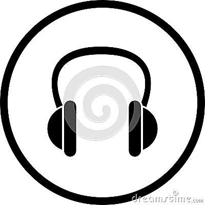 Vector el símbolo de los auriculares