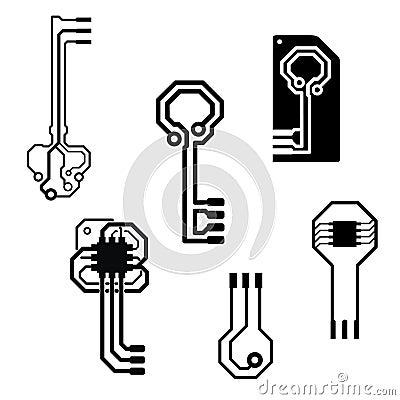 Vector electronic circuit keys