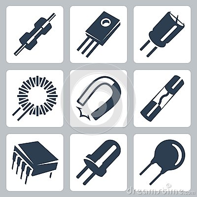 Free Vector Electronic Components Icons Set Stock Image - 35997701