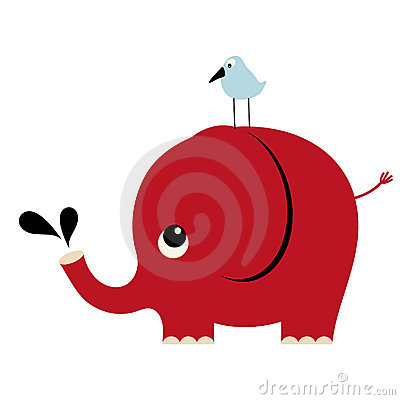 Vector elephant and bird