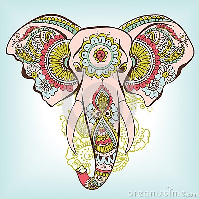 Vector Elephant On The Henna Indian Ornament Stock Vector