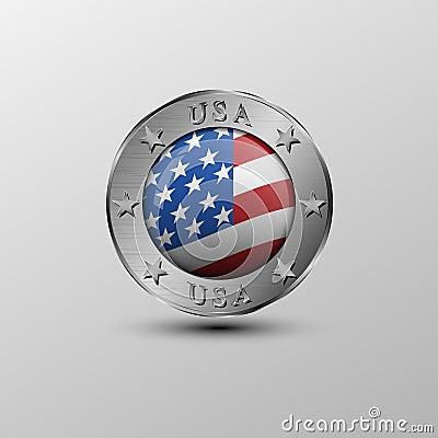 The vector emblem.American flag Vector Illustration