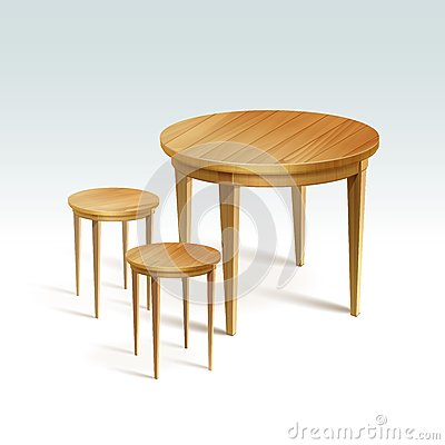 Free Vector Empty Round Wood Table With Two Chairs Stock Photo - 44714300